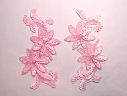 K8254 Pink Opaque Floral Mirror Pair Sequin Beaded Applique 6.25