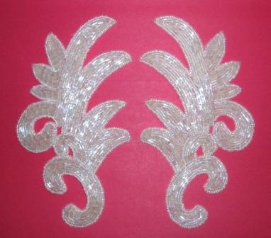 """K8257  Crystal AB Beaded Claw  Mirror Pair Appliques 7.5"""""""
