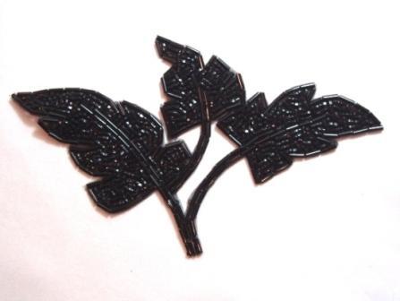 """K8259  Black Leaf Cluster Beaded Applique 6.5"""""""