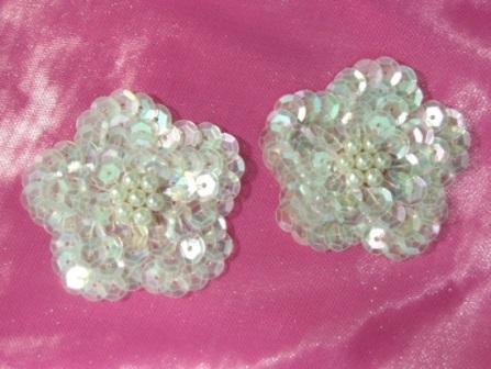 """K8261 Set of (2) Crystal Ab Flower Pair Sequin Beaded Appliques 1.75"""""""