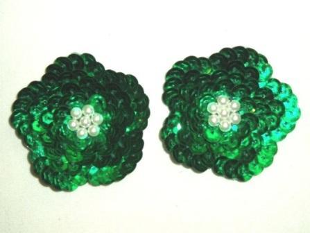 "K8261  Set of (2) Green Flower Pair Sequin Beaded Appliques 1.75"""
