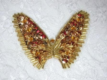 """K8268  Gold rhinestone Butterfly Sequin Beaded Applique 2.75"""""""