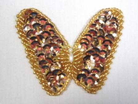 """K8268 Gold Butterfly Beaded Sequin Applique 2.25"""""""