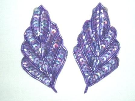 K8269  Purple Crystal AB Leaf Pair Sequin Beaded Appliques  3.25""