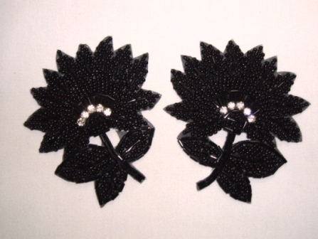 OSK8273 (RIGHT SIDE ONLY) Black Floral Beaded Crystal Rhinestone Applique 3.5""