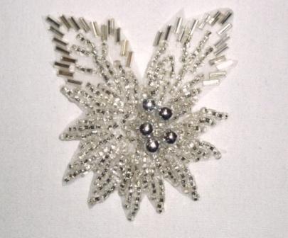 """K8281 Silver Beaded Floral Leaf Applique 2.25"""""""