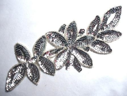 "K8383  Silver Rhinestone Floral Vine Sequin Beaded Applique  11"""