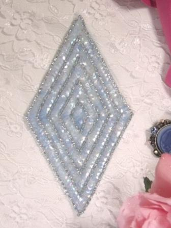 K8385 Lt. Blue Crystal Diamond  Beaded Sequin Applique 5.5""