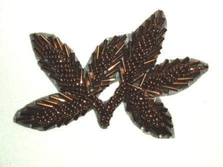"K8386  Bronze Leaf Beaded Applique 3.25"""