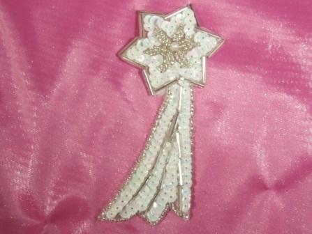 K8388  White Ab Shooting Star Sequin Beaded Applique 4""