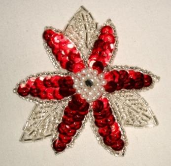 K8390  Red Floral Beaded Sequin Applique 3.25""