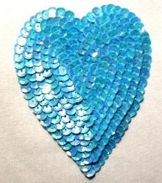 "K8395  Blue Opaque AB Heart  Sequin Applique 3.5"""