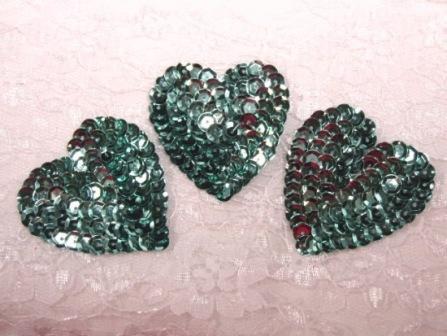 "K8395A  Set of 3 Teal Heart  Sequin Appliques 2"""