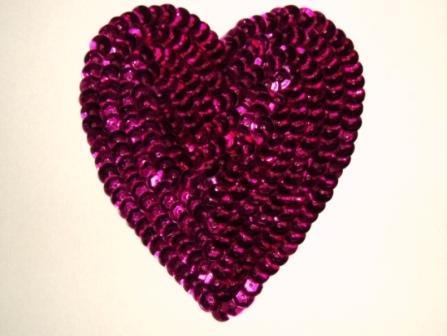 "K8395   Fuchsia Heart  Sequin Applique 3.5"""