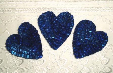 """K8395A  Set of 3 Blue Heart  Sequin Applique 2"""""""