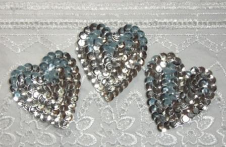 """K8395A  Set of 3 Silver Heart  Sequin Applique 2"""""""