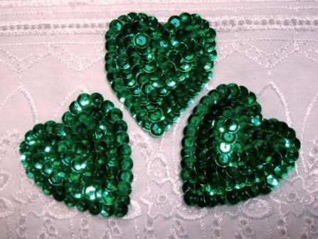 """K8395A  Set of 3 Green Heart  Sequin Appliques 2"""""""