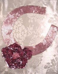 "K8398  Mauve Floral Collar Sequin Beaded Applique  11"""