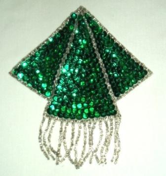"K8401  Green Silver Triangle Epaulet Sequin Beaded Applique  5.25"""