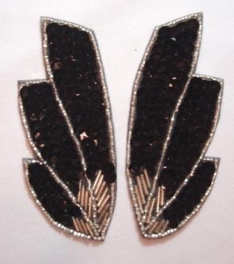 "K8403  Black Wing Mirror Pair Sequin Beaded Appliques 4"""