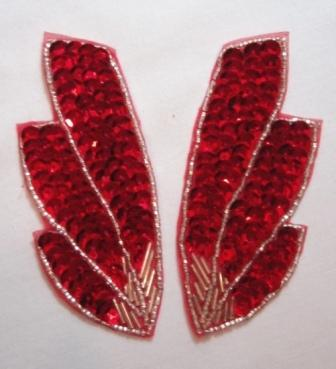 K8403  Red Wing Mirror Pair Sequin Beaded Appliques 4""