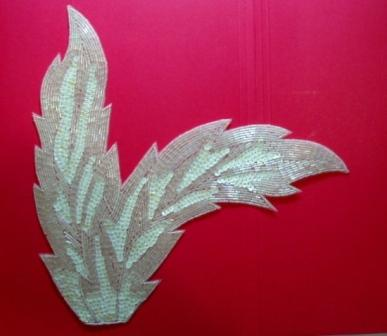 "K8408  White AB Leaf Designer Sequin Beaded Applique 11"""