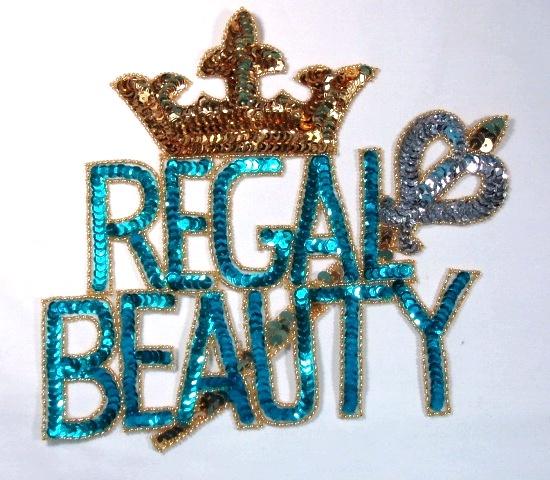 Regal Beauty Crown Sequin Beaded Applique 0011