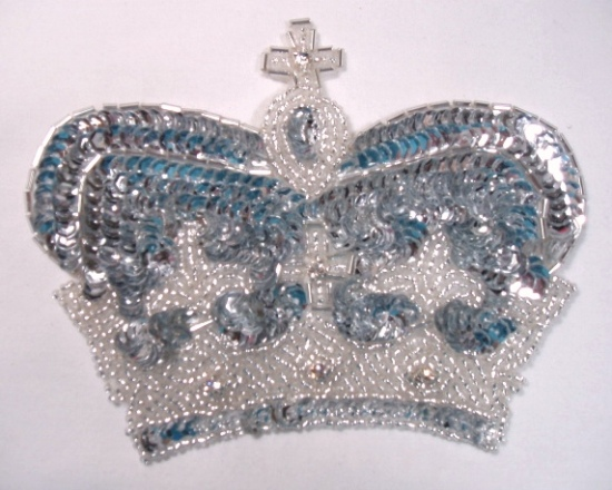 Silver Crown Sequin Beaded Applique