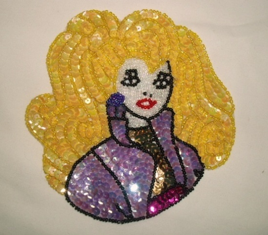 "Barbie Doll Lady 5"" Sequin Beaded Applique  0048"
