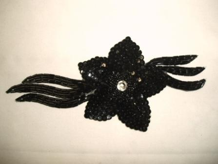K8511  Black Jewel Floral Sequin Beaded Applique 7""