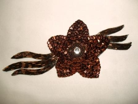 K8511  Bronze Jewel Floral Sequin Beaded Applique 7""