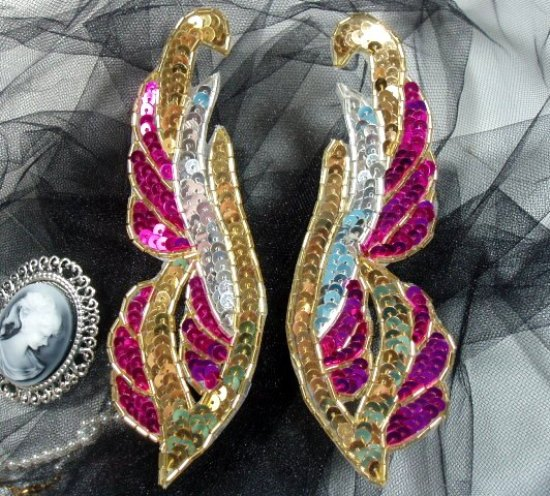 """0033 Sequin Beaded Applique Fucshsia Gold and Silver Mirror Pair 6"""""""