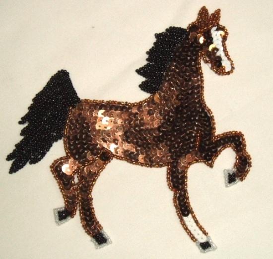 """0004  Brown Tennesse Walker Horse 6"""" Sequin Beaded Applique"""