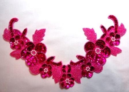 "K8616 Fuchsia Floral Pearl Collar  Sequin Beaded Applique 10.5"""