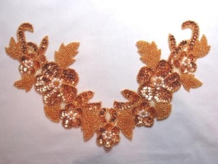 """K8616  Gold Floral Pearl Collar  Sequin Beaded Applique 10.5"""""""