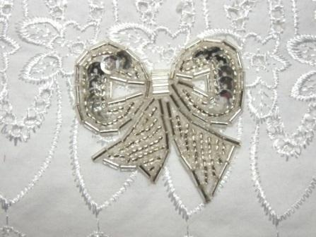 """T8623  Silver Bow Sequin Beaded Applique 2"""""""
