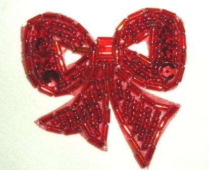 """T8623  Red Bow Sequin Beaded Applique 2"""""""