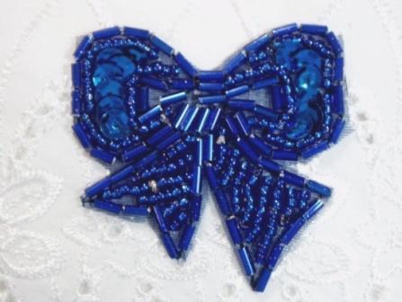 "T8623  Royal Blue Bow Sequin Beaded Applique 2"""