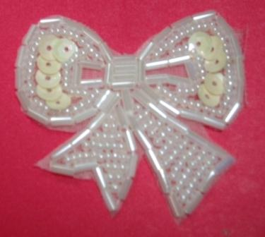 """T8623  White Bow Sequin Beaded Applique 2"""""""
