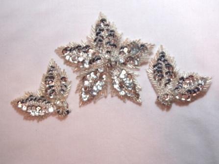 "K8624  Silver 3 Piece Set Floral  Sequin Beaded Applique 3.5"""