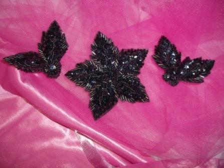 """K8624  Gunmetal 3 Piece Set Floral  Sequin Beaded Appliques 3.5"""""""