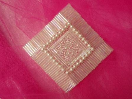"K8629  Crystal AB Diamond Square 3.25"" Beaded Applique"