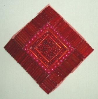 "Reduced RMK8629  Red Diamond Square 3.25"" Beaded Applique"