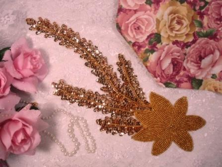 """K8631  Gold Floral Starfish Seaweed Sequin Beaded Applique 11.5"""""""