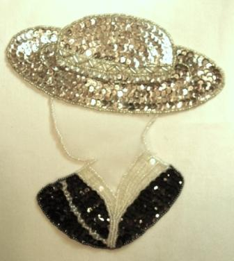 "K8632 Silver Hat Lady 7"" Sequin Beaded Applique"