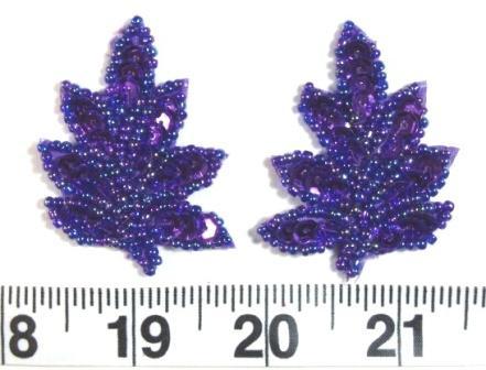"""T8633 Purple AB Leaf Mirror Pair Sequin Beaded Appliques 2"""""""
