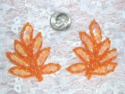 T8633-pchor (REDUCED) Peach Orange Leaf Mirror Pair Sequin Beaded Appliques 2""