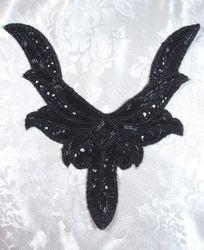 "K8635  Black Collar Sequin Beaded Applique 9.5"""