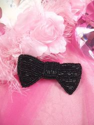 K8737 Black Bow Tie Beaded Applique 3""