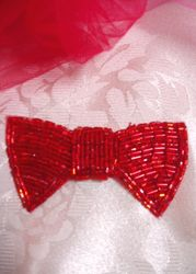K8737 Red Bow Tie Beaded Applique 3""